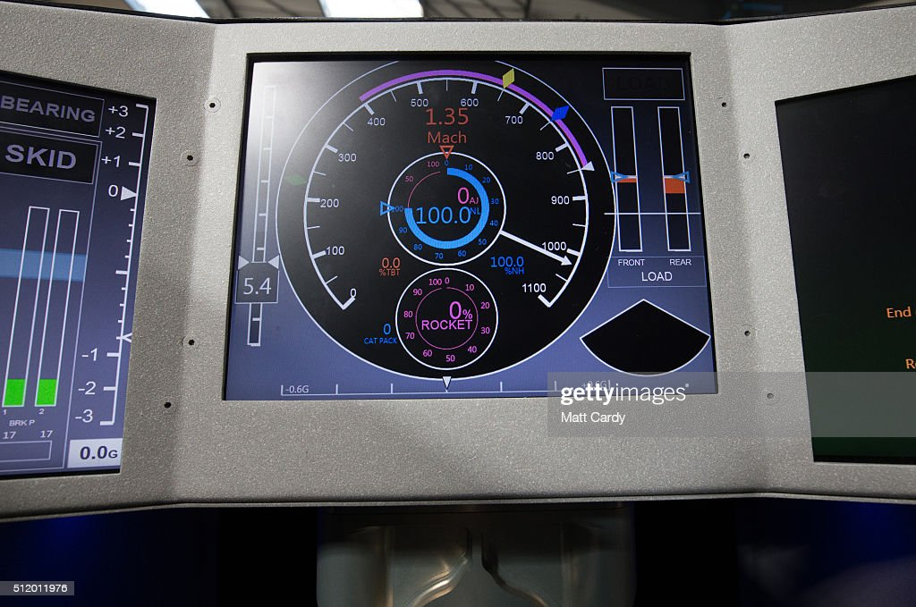 The mock up of the cockpit of the Bloodhound SSC vehicle is seen on display inside the design centre in Avonmouth on February 24 2016 in Bristol...