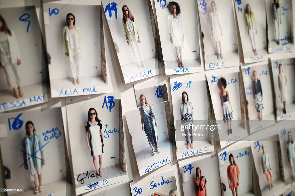 The model board is displayed backstage ahead of the Sportalm show during the Mercedes-Benz Fashion Week Berlin Spring/Summer 2017 at Erika Hess Eisstadion on June 29, 2016 in Berlin, Germany.
