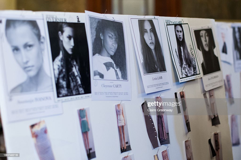 The model looks board is displayed backstage at the Kristian Aadnevik show during London Fashion Week SS14 at The Royal Horseguards on September 15, 2013 in London, England.