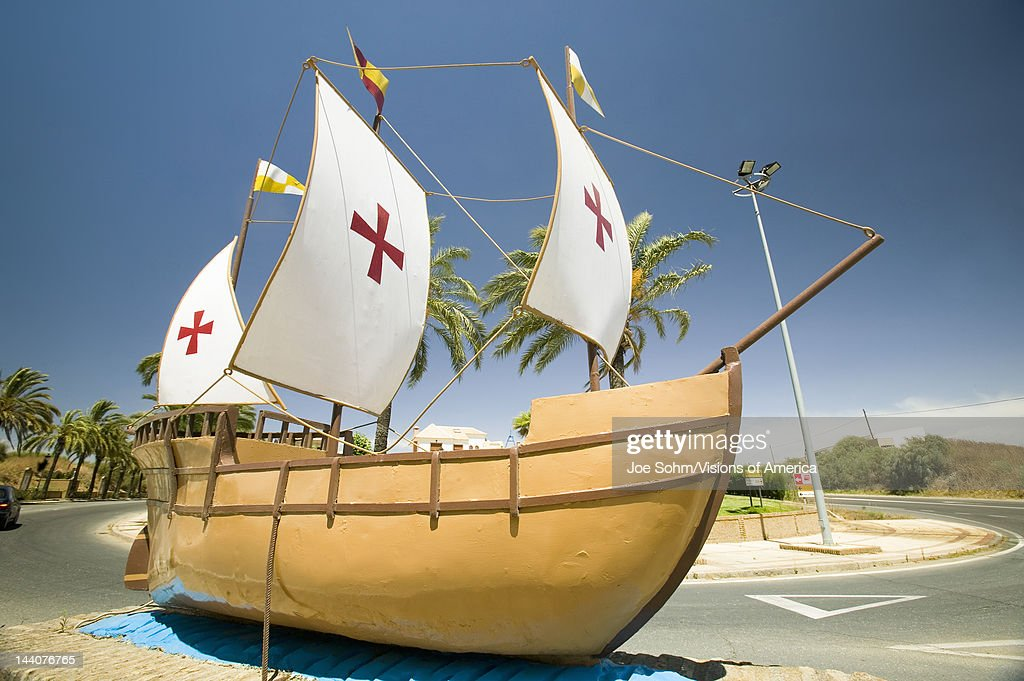 The model of the Santa Maria sailing ship used by Christopher Columbus in 1492 Palos de la Frontera Spain