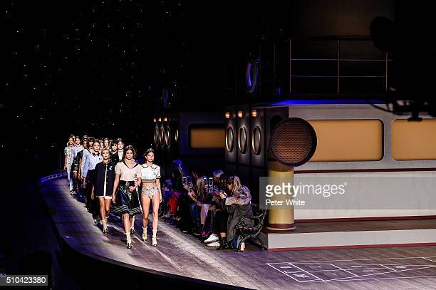 the models walks the runway wearing Tommy Hilfiger Women's Fall 2016 during New York Fashion Week at Park Avenue Armory on February 15 2016 in New...