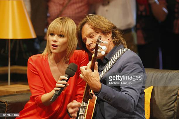 The moderator Francine Jordi with Juergen Drews during the dress rehearsal of the TV music show 'Stadlshow' on September 11 2015 in Offenburg Germany