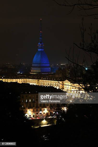 The Mole Antonelliana of Turin is illuminated in blue during the Italian Football Federation Gala Dinner at Turin Egyptian Museum on October 5 2016...