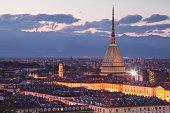 The Mole Antonelliana rising above Turin at night.