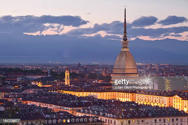 The Mole Antonelliana rising above Turin at night.