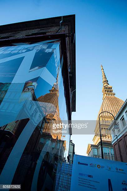 The Mole Antonelliana the monument symbol of Turin during the World Autism Awareness Day