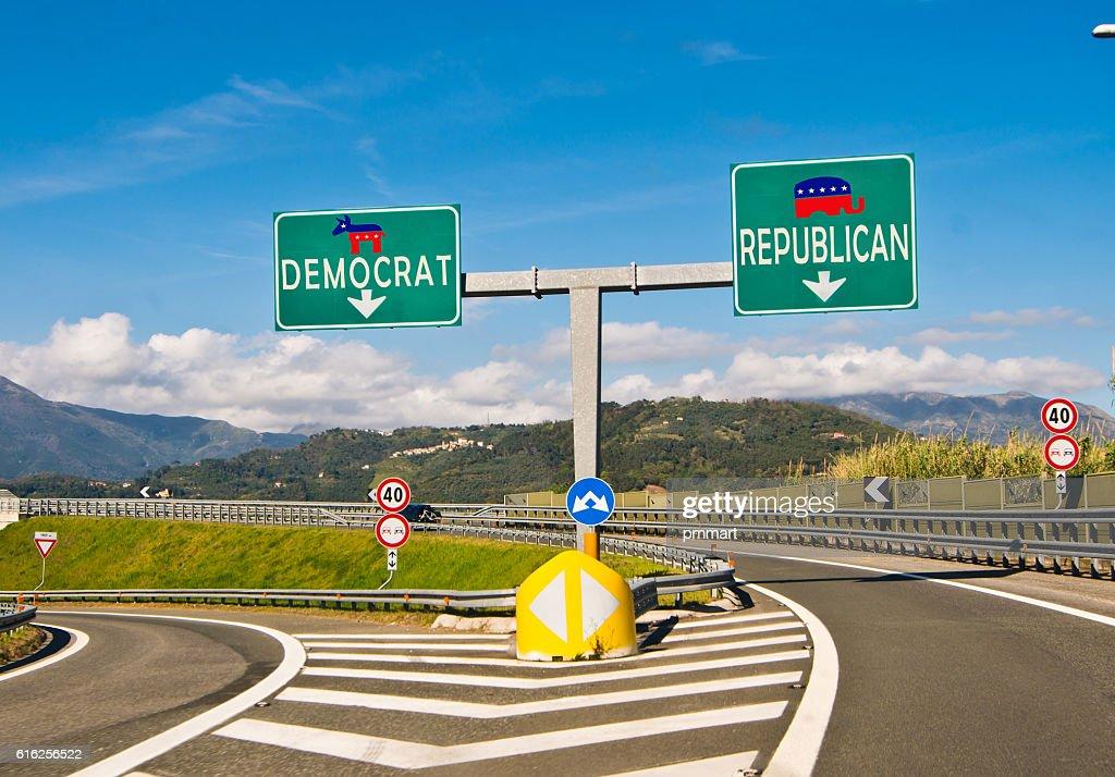 O momento de escolha, utilizados ou democratas : Foto de stock
