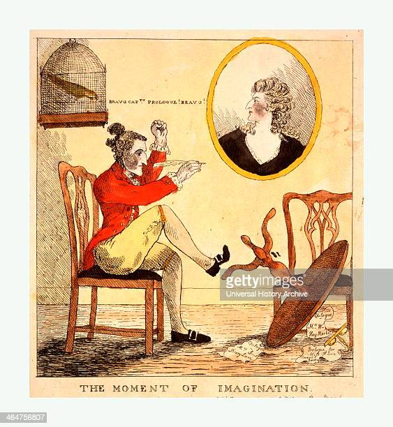 The Moment Of Imagination Engraving 1785 Edward Topham A Pen In His Hand Has Just Kicked Over His Circular Writing Table In Frenzied Inspiration He...