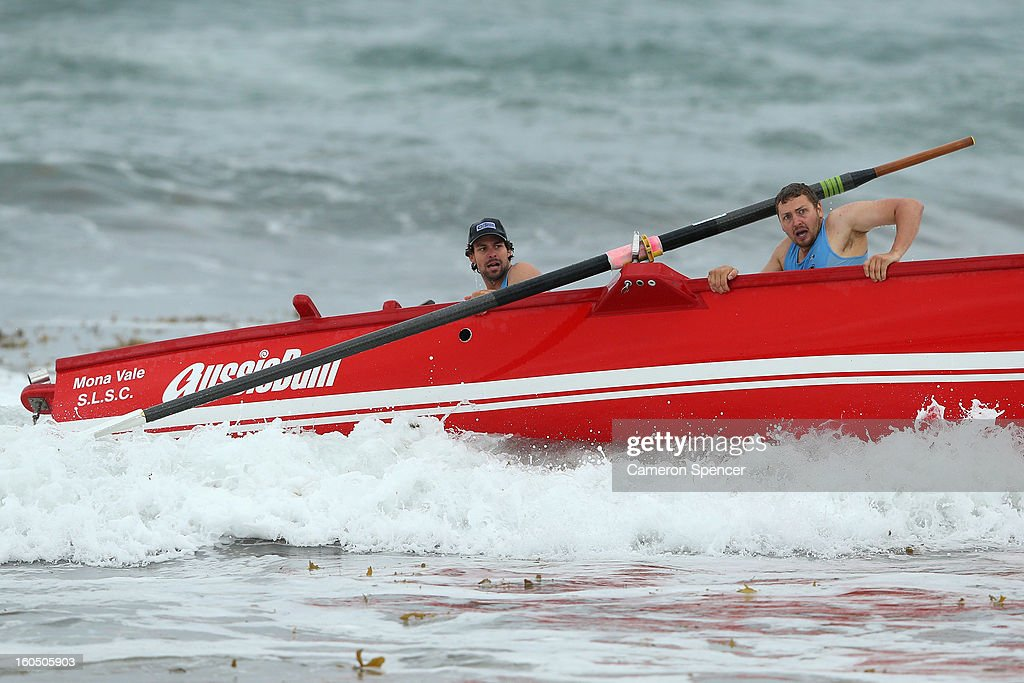 The Mona Vale suf life saving crew lose control of their boat during the Ocean Thunder Surf Boat Series at Dee Why Beach on February 2, 2013 in Sydney, Australia.