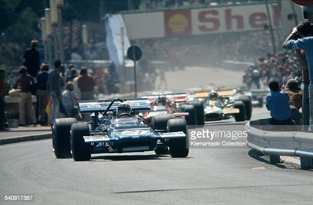 The Monaco Grand Prix Monte Carlo May 10 1970 Jackie Stewart leads up the Ste Devote hill from his pole position in his March 701Ford He opened up a...