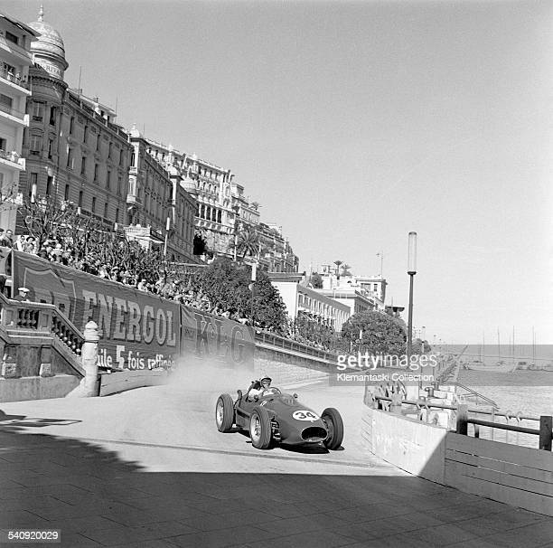The Monaco Grand Prix Monte Carlo May 18 1958 Luigi Musso the great Italian hope of the Ferrari team trying very hard at the old Tabac corner on the...