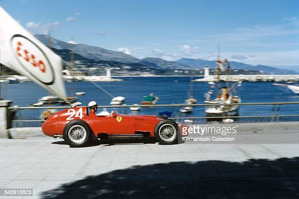 The Monaco Grand Prix Monte Carlo May 19 1957 Wolfgang Amon Trips braking hard for the Gazometre hairpin during practice with his Ferrari 801 on his...