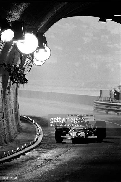 The Monaco Grand Prix Monte Carlo May 23 1971 Mario Andretti swings into Monaco�s famous tunnel in wet conditions His car blew up in practice and he...