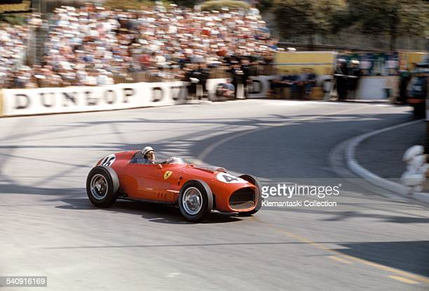 The Monaco Grand Prix Monte Carol May 10 1959 Jean Behra at the Gazometre turn with the short nose Ferrari 246/F1 He qualified in the middle of the...