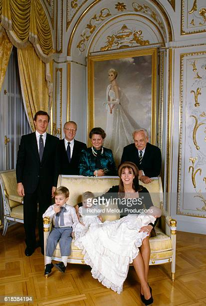 The Monaco Royal Family poses with baby Pierre Casiraghi on his baptism day. (Top row, L-R): Husband of Princess Caroline Stefano Casiraghi, his parents Mr. and Mrs. Casiraghi, and Prince Rainier III of Monaco. (Bottom): Andrea and Charlotte Casiraghi and their mother Princess Caroline of Monaco, holding baby Pierre.