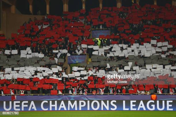 The Monaco supporters display their colours ahead of the UEFA Champions League Round of 16 second leg match between AS Monaco and Manchester City FC...