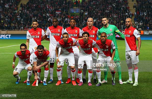 The Monaco team line up during the UEFA Champions League quarterfinal second leg match between AS Monaco FC and Juventus at Stade Louis II on April...