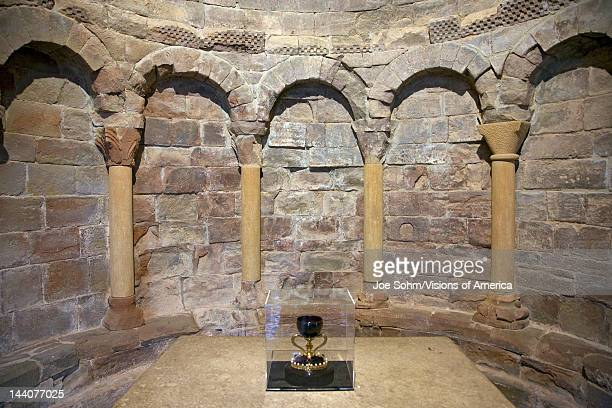 The Monastery of San Juan de la Pena Jaca in Jaca Huesca Spain carved from stone under a great cliff was originally built in 920 AD and in 11th...