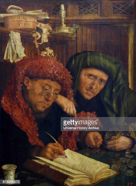 The moneychanger or the Tax Collectors circa 1546 by Marinus Claeszoon van Reymerswaele Dutch painter Oil on wood panel