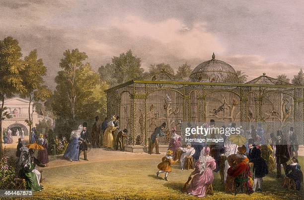 The Monkey House at the Zoological Gardens Regent's Park London 1835 Families on a day out at the zoo crowd in front of the monkeys' cage