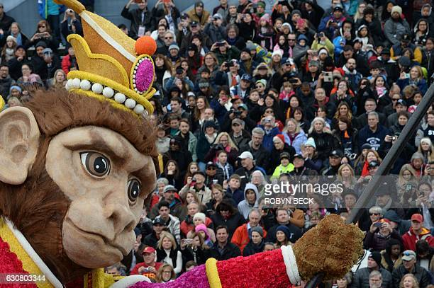 The Monkey King on the BDK float The Monkey King Journey to Success passes spectators at the 128th Rose Parade in Pasadena California January 2 2017...
