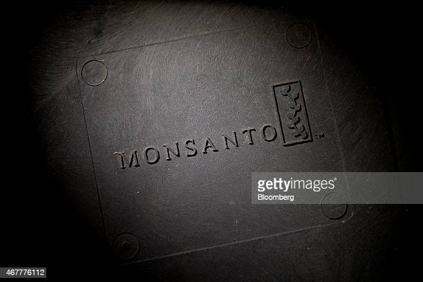 The Monsanto Co logo is displayed on a bulk storage bin at the Crop Protection Services facility in Manlius Illinois US on Friday March 20 2015...