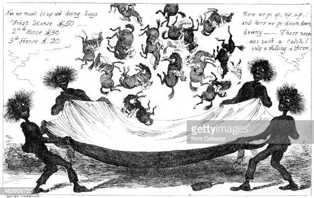 'The Monster Sweeps a Toss Up for the Derby' 19th century Monsterlike chimneysweeps tossing Derby jockeys and horses in a sheet only a shilling a...