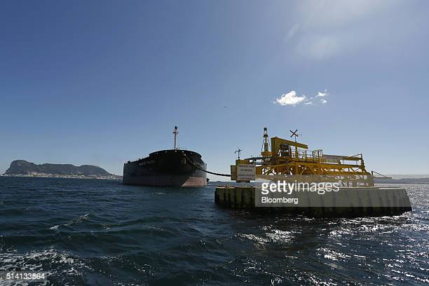 The Monte Toledo oil tanker delivers a consignment of Iranian oil to an offshore pumping station at the Cia Espanola de Petroleos SA refinery near...