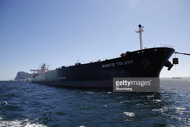 The Monte Toledo oil tanker delivers a shipment of Iranian crude oil to an offshore pumping station at the Cia Espanola de Petroleos SA refinery near...