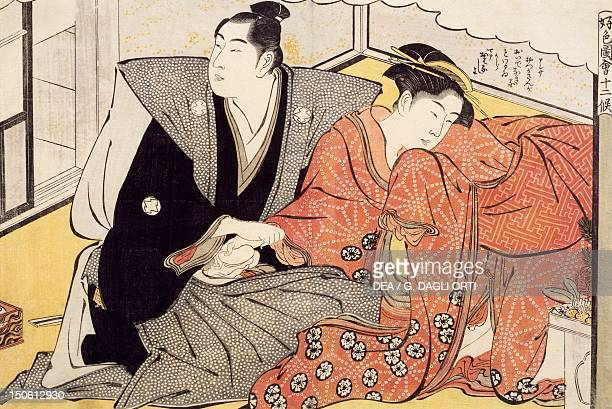 The month of January couple in ceremonial dress ca 1788 shunga by Katsukawa Shuncho woodcut from the The twelve months series Japanese civilization...