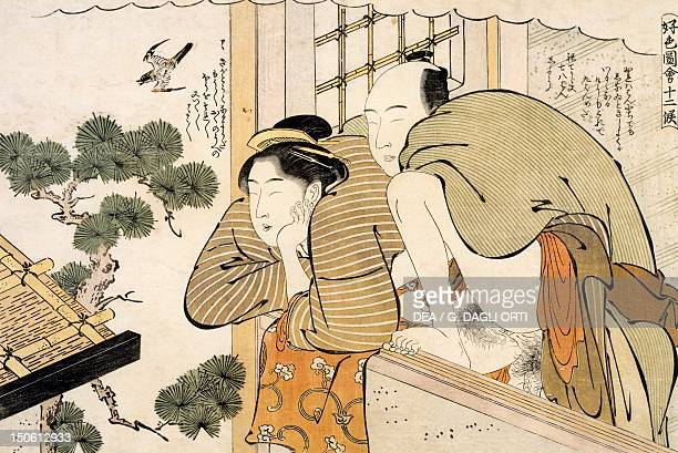 The month of October ca 1788 shunga by Katsukawa Shuncho woodcut from the The twelve months series Japanese civilization Edo period