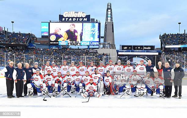 The Montreal Canadiens Alumni Team poses for a team photo prior to the Alumni Game as part of the 2016 Bridgestone NHL Classic at Gillette Stadium on...