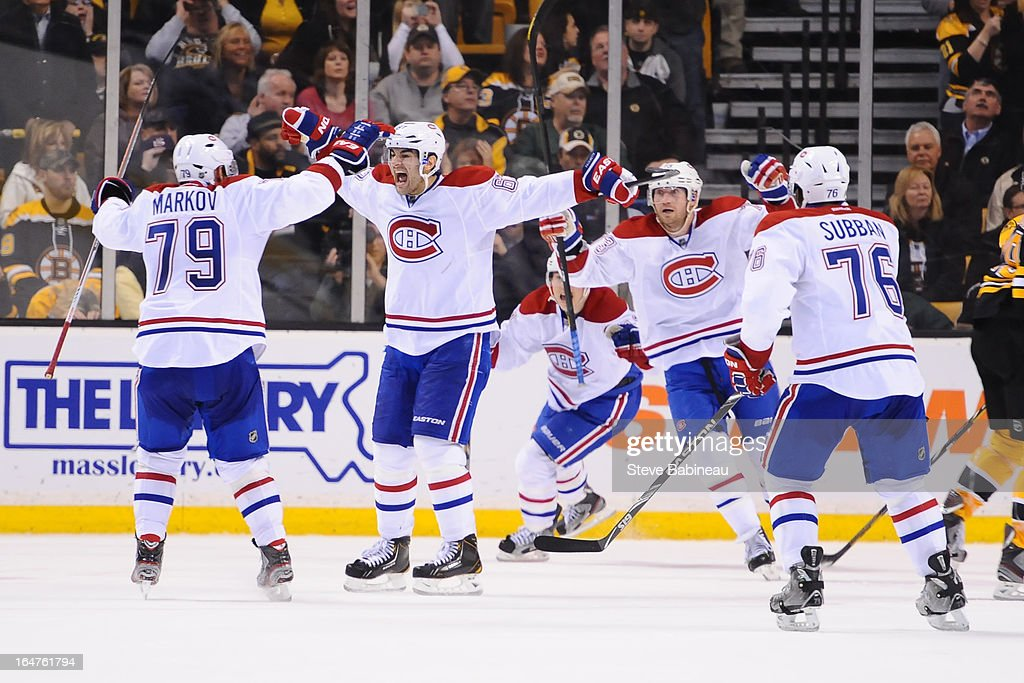 The Montreal Canadiens celebrate a goal against the Boston Bruins at the TD Garden on March 27, 2013 in Boston, Massachusetts.