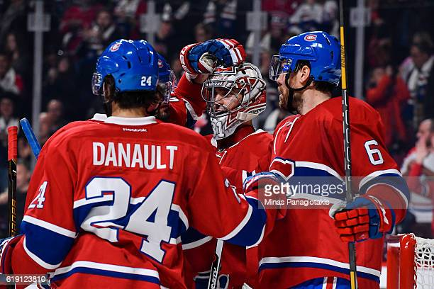 The Montreal Canadiens celebrate a victory over the Toronto Maple Leafs during the NHL game at the Bell Centre on October 29 2016 in Montreal Quebec...