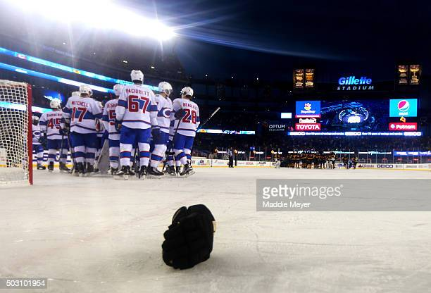 The Montreal Canadiens celebrate after defeating the Boston Bruins during the 2016 Bridgestone NHL Winter Classic at Gillette Stadium on January 1...