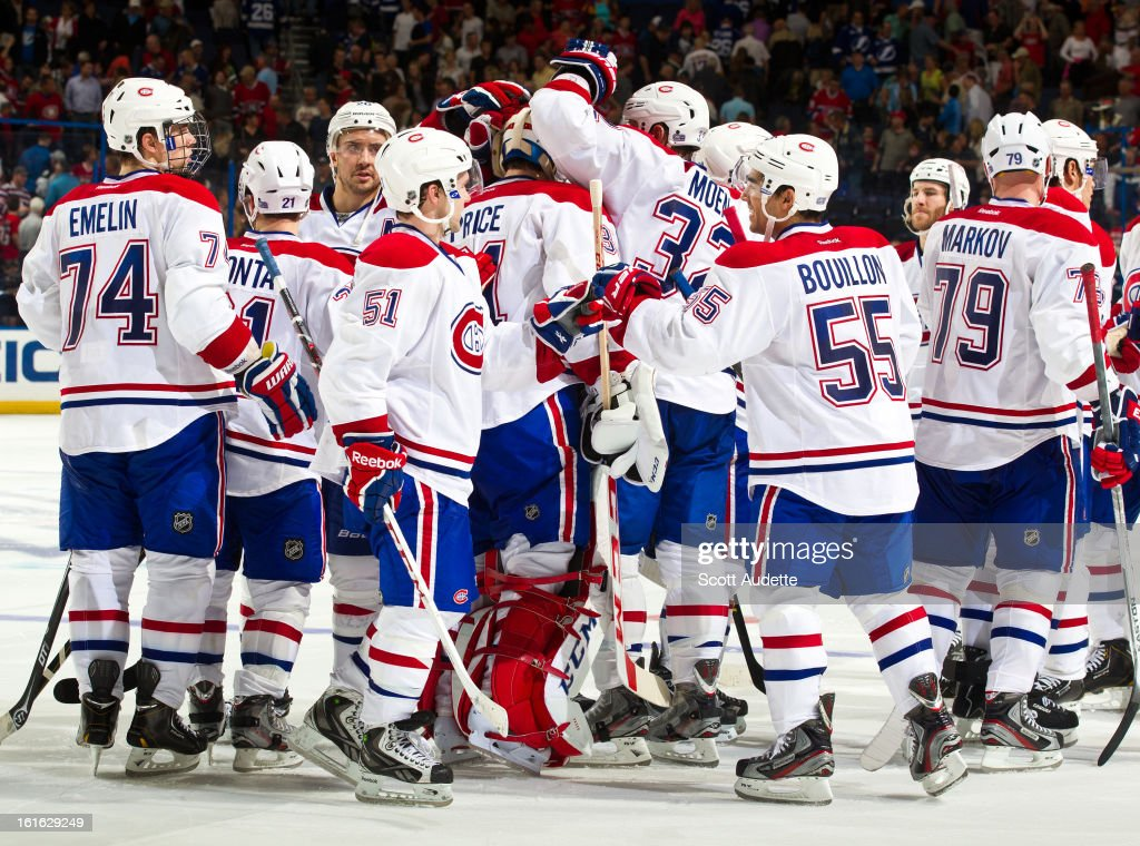 The Montreal Canadiens celebrate after defeating the Tampa Bay Lightning at the Tampa Bay Times Forum on February 12, 2013 in Tampa, Florida.