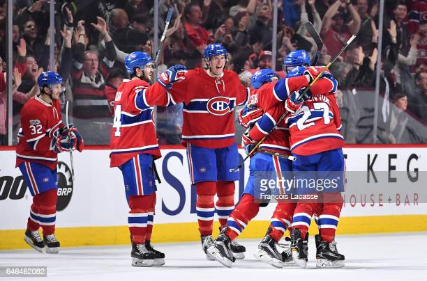 The Montreal Canadiens celebrate after defeating the the Columbus Blue Jackets in the NHL game at the Bell Centre on February 28 2017 in Montreal...