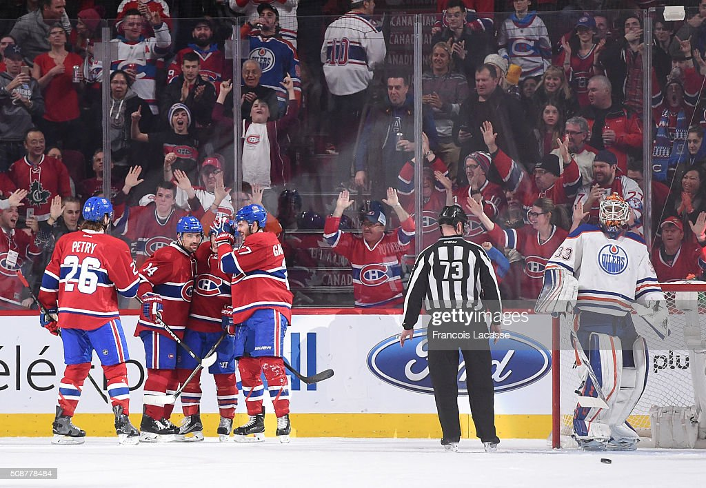 The Montreal Canadiens celebrate after scoring a goal against the Edmonton Oilers in the NHL game at the Bell Centre on February 6, 2016 in Montreal, Quebec, Canada.