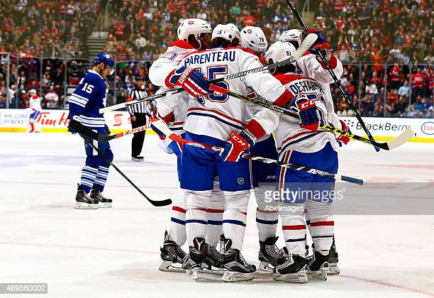 The Montreal Canadiens celebrate David Desharnais goal against the Toronto Maple Leafs during NHL action at the Air Canada Centre April 11 2015 in...