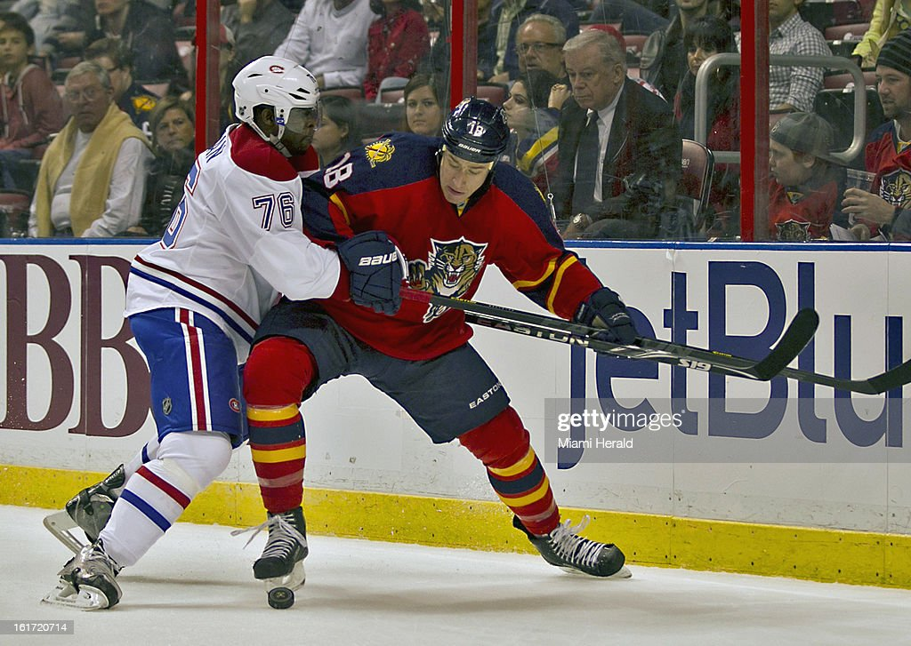 The Montreal Canadiens' P.K. Subban, left, keeps the Florida Panthers' Shawn Matthias away from the puck in the first period at BB&T Center in Sunrise, Florida, on Thursday, February 14, 2013. Montreal won in OT, 1-0.
