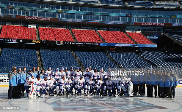 The Montreal Canadiens pose for a team photo prior to practice at Gillette Stadium on December 31 2015 in Foxboro Massachusetts