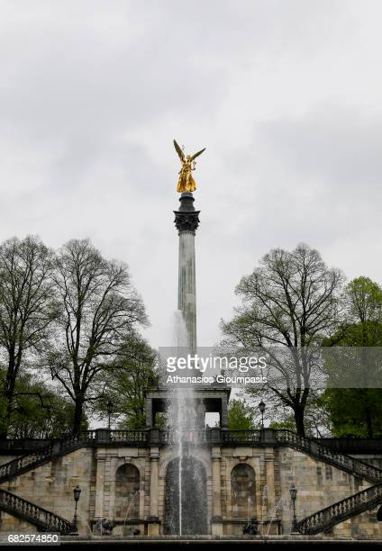 The Monument of Angel of Peace on April 16 2017 in Munich Germany The Angel of Peace is part of the Maximilian Park and a point de vue at the eastern...