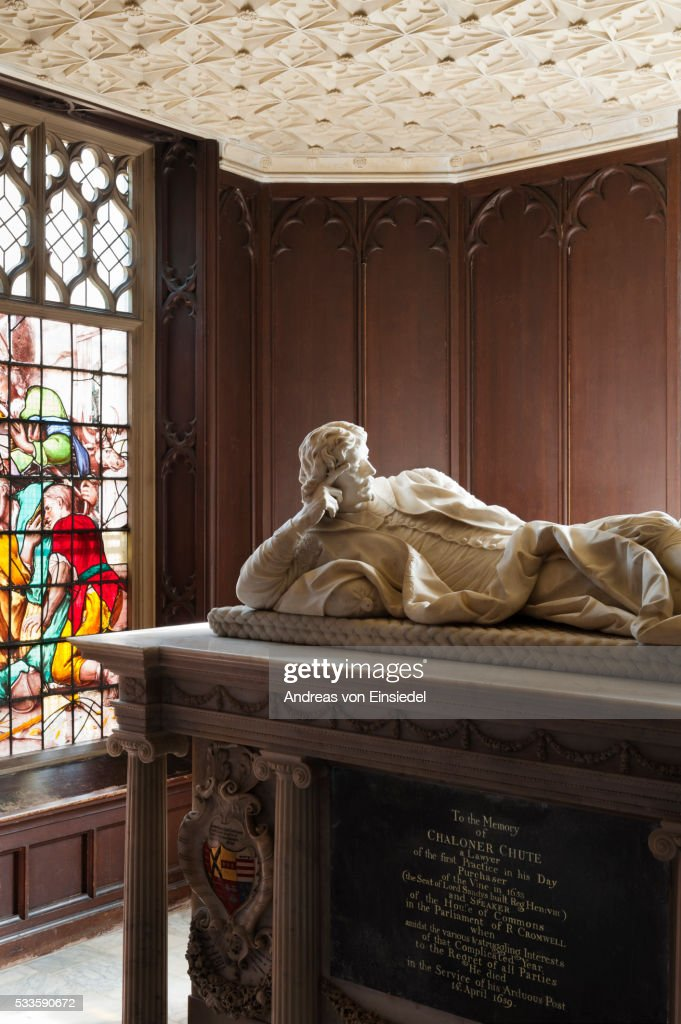 The monument to Speaker Chute in The Tomb Chamber, The Vyne, Hampshire.