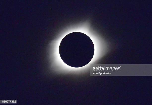The moon moves in front of a sun for a Total Solar Eclipse on August 21 as viewed from the Cohen Recreation Center in Chester IL
