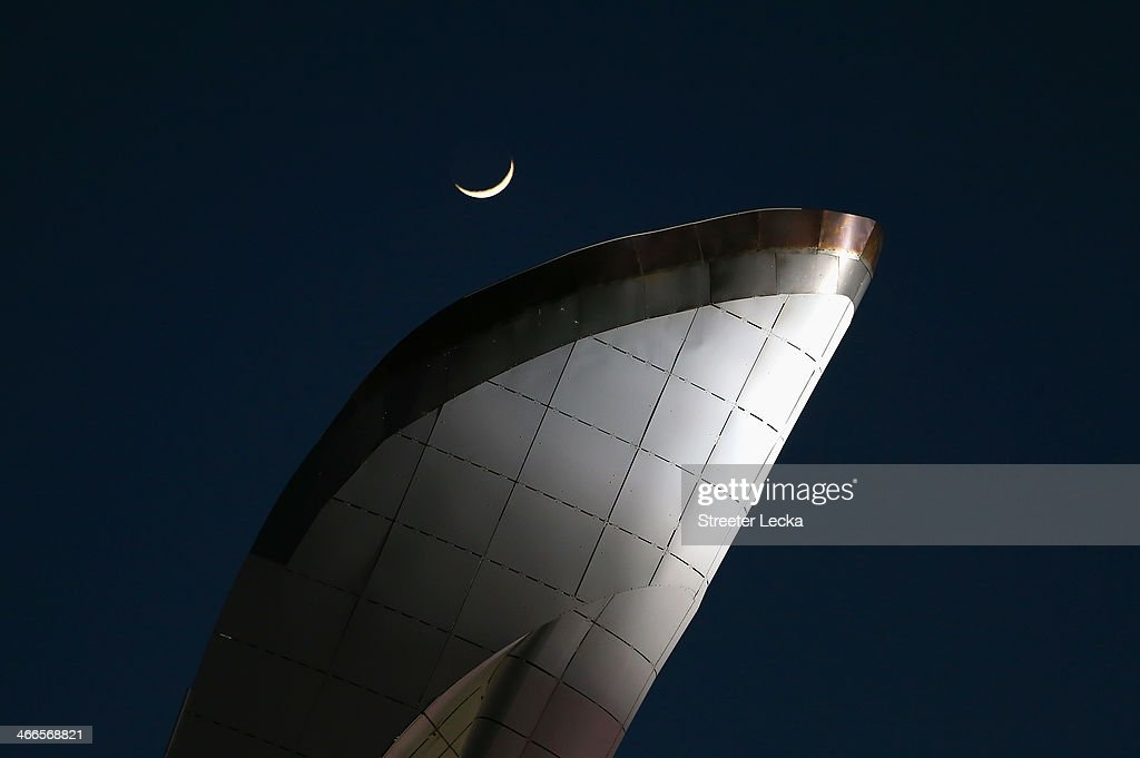 The moon rises over the cauldron ahead of the Sochi 2014 Winter Olympics at the Olympic Park on February 2, 2014 in Sochi, Russia.