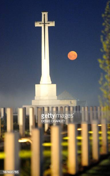 The moon sets over the Australian War Memorial in the northern French city of VillersBretonneux on April 25 as part of the Australian and New Zealand...