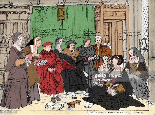 The More Family from the Sketch by Holbein at Basle Museum' Sir Thomas More venerated by Roman Catholics as Saint Thomas More was an English lawyer...