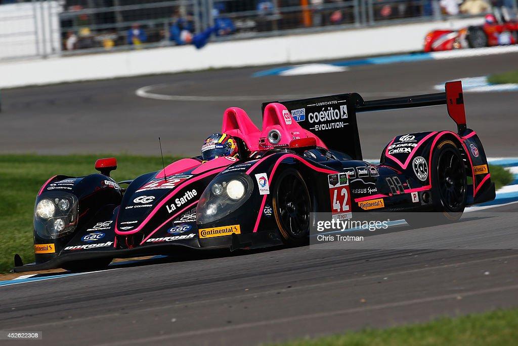 The Morgan Nissan of Gustavo Yacaman and Ho Pin Tung drives during practice for the TUDOR United SportsCar Championship Brickyard Grand Prix at...