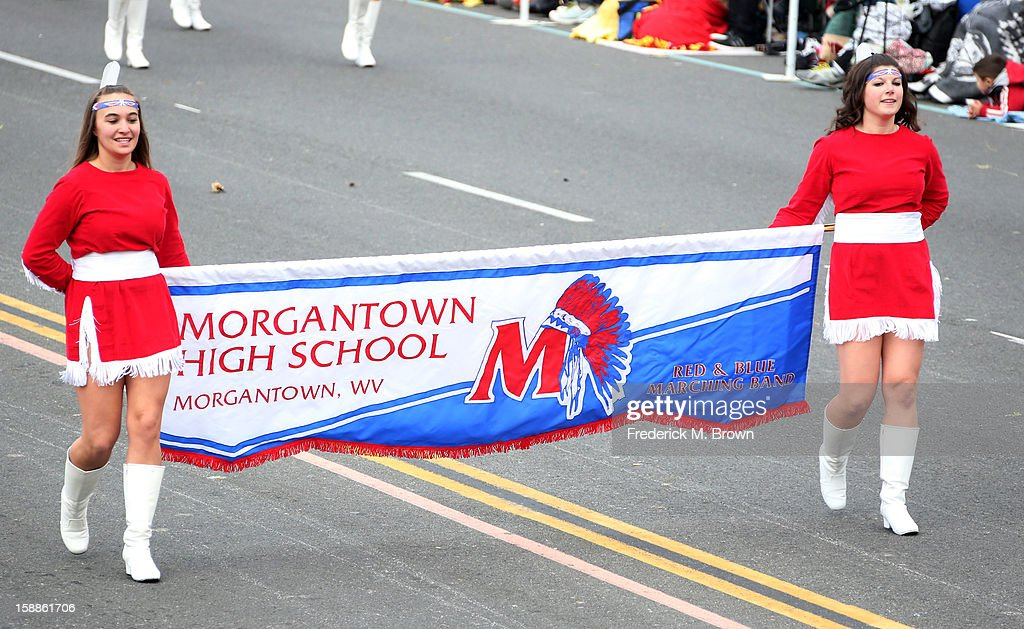 The Morgantown High School Marching Band on the parade route during the 124th Rose Parade Presented By Honda on January 1, 2013 in Pasadena, California.