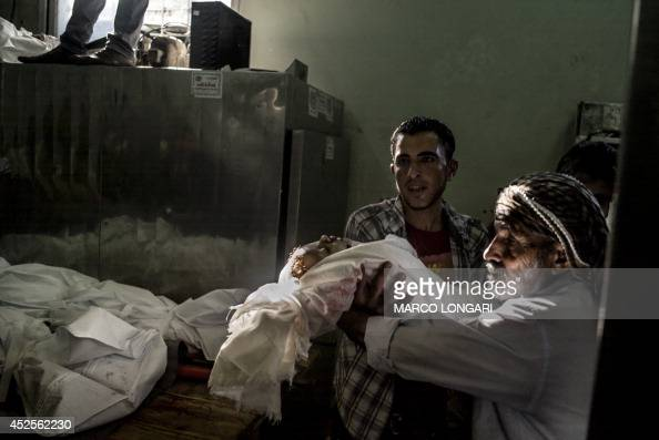The morgue attendant releases to a relative the body of twoyear old Palestinian Salma Radiya who was killed by shrapnel from an Israeli tank shell in...